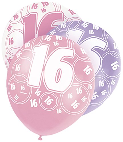 12-latex-glitz-pink-16th-birthday-balloons-pack-of-6
