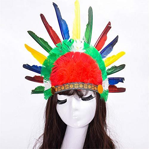 Shuangklei Halloween Karneval Tag Bunte Feder Party Hüte Stirnband Indischen Stil Headwear Villus Chiefs Cap ()