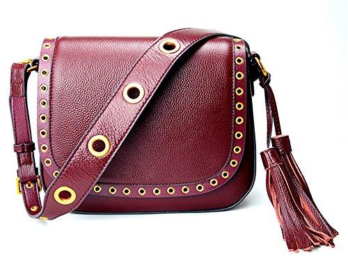 Xinmaoyuan Borse donna borsette in cuoio Round chiodo frange tracolla larga sella borsa tracolla messenger bag,vino rosso Vino rosso