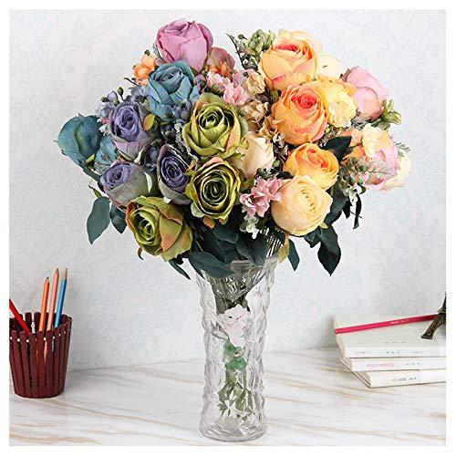 GGStudy Künstliche Blumen-Verzierungen Herbst 11 Schatz-Rosen-Schlafzimmer-Tabellen-Blumenstrauß-gefälschter Blumen-Blumenstrauß-Schmuck,orange