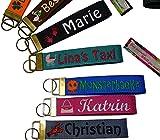 Schlüsselanhänger 30mm (Light) mit Name & Sternzeichen oder Motiv Bestickt, 18 Farben zur Auswahl