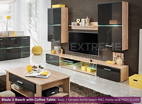 Wohnzimmer Hochglanz Möbel Schrank Set Display Wohnwand TV Unit Blade 2Buche