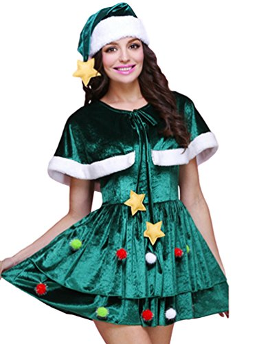 Anguang Donna Multi-Stili Natale Albero Costume Cosplay Fantasia Vestito Mini Vestito Stile 1