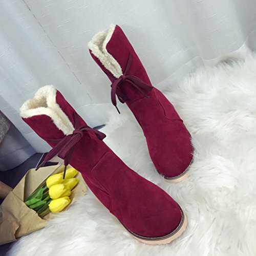 Las Mujeres Martin Boots Shoes, Somesun Mujer Mujer Low Wedge Biker Tobillo Trim Flat Tobillo Zapatos Calientes Martin Boots Wine