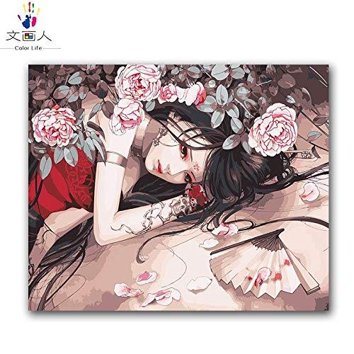 KYKDY Diy Färbung Malen nach Zahlen Figuren chinesischen alten Kostüm Anime Schönheit