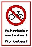 Melis Folienwerkstatt Schild - Fahr-räder verboten - No bikes - 2-sprachig - 45x30cm mit Bohrlöchern | stabile 3mm starke PVC Hartschaumplatte – S00050-083-B +++ in 20 Varianten erhältlich