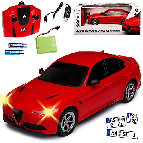 Siva Alfa Romeo Giulia Rot Ab 2016 2,4 GHz RC Funkauto mit Beleuchtung und Akkupack 1/24 Modell Auto