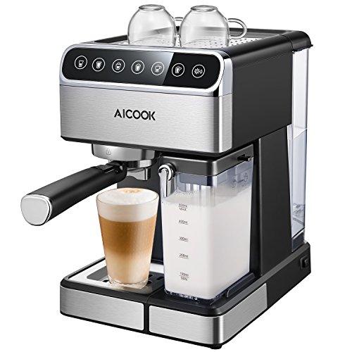Aicook, Cafetera Espresso 15 bares Capacidad 1.8L Espumador de Leche para Cappuccino y Latte Filtro doble removible y Control Tactil, Negro