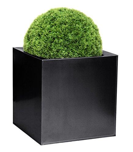 Cache-Pots Cubes en Zinc Galvanisé - Noir - Grand - 40 cm