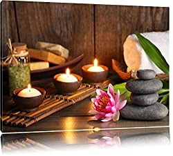 Kerzen mit Zen Steinen und Seerose Format: 100x70 auf Leinwand, XXL riesige Bilder fertig gerahmt mit Keilrahmen, Kunstdruck auf Wandbild mit Rahmen, günstiger als Gemälde oder Ölbild, kein Poster oder Plakat