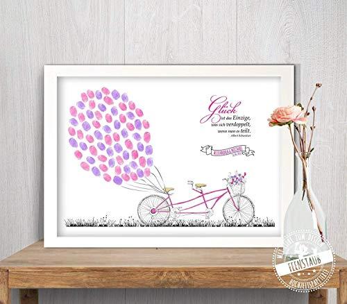 Tandem Fahrrad Wedding-Tree Leinwand, Fingerabdruck-bild Luftballone, Gästebuch für Hochzeit -