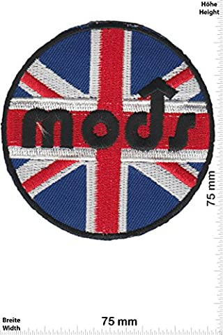 Patches - Mods - UK - Union Jack - Motor sports - Sports Motorcycle Vespa - Iron on Patch - Applique embroidery Écusson brodé Costume Cadeau- Give Away