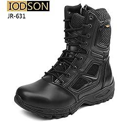 IODSON Zapatos de Hombre Botas/Botas de Combate/Botas Tácticas Ultra-Ligero Antideslizante Tela de Cuero Verdadero Transpirable JR-631 39 EU