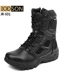 Para hombre Tactical cremallera lateral desierto ejército selva combate militar patrulla marrón trabajo ligero Suede Leather Boot, color marrón, talla 11 UK