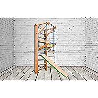 Madera maciza - haya. ¡Construcción robusta! Zona de juegos de madera para interior KN-03-220 Escalera sueca Complejo deportivo de gimnasia