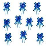 Oblique-Unique® 10 Geschenkschleifen mit Geschenkbändern für Geschenke und Zuckertüten - Farben und Größe wählbar (Blau 10x7cm)