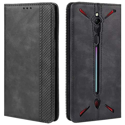 HualuBro Handyhülle für Nubia Red Magic 3 Hülle, Retro Leder Brieftasche Tasche Schutzhülle Handytasche LederHülle Flip Case Cover für ZTE Nubia Red Magic 3 - Schwarz