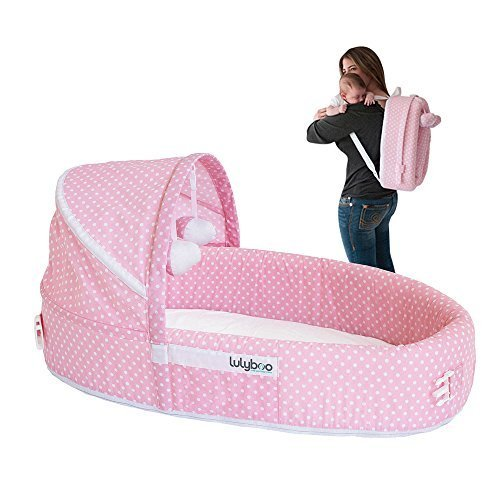 LulyBoo Travel Infant Bed - On The Go Baby Lounger Backpack - Combines Crib, Playpen And Changing Station (Pink) by LulyBoo
