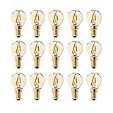 G40 LED Filament Mini Globe Light Bulb 1W - Ultra Warm White 2200K (Amber Glow) - 10W Equivalente di ricambio - E14 Lampadine Candelabri - Non Dimmerabile -15Pack