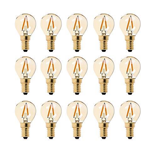 G40 LED-Glühfaden-Glühlampe mit Glühlampe 1W - Ultra Warm White 2200K (Amber Glow) - 10W Ersatzäquivalent - E14 Kandelaberröhren - Nicht messbar -15Pack -