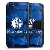DeinDesign Tasche kompatibel mit Apple iPhone 5 Leder Flip Case Ledertasche FC Schalke 04 Muster Offizielles Lizenzprodukt