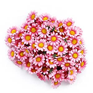 Gleader circa 100pcs Artificial gerbera Daisy Silk Flowers Heads for DIY wedding party (rosa chiaro)