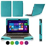 [Corner Protection] ASUS Transformer Book T100 Case Cover, Fyy® Fully Armed Leather Case for ASUS Transformer Book T100 Cyan