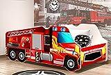 Froschkönig24 Autobett FEUERWEHR Truckoptik Feuerwehrbett Kinderbett Spielbett Bett Rot