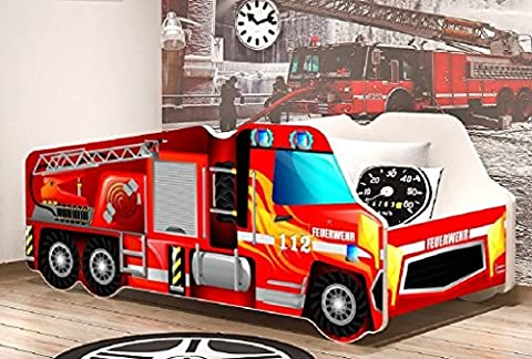 Autobett FEUERWEHR Truckoptik Feuerwehrbett Kinderbett Spielbett Bett Rot