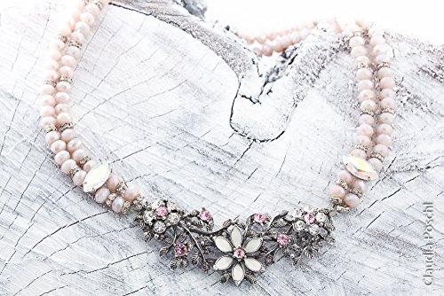 Perlenkette 2-reihig rosa taupe mit Blumenranke von CP Dirndlkette vintagestil