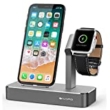 iVAPO 2 in 1 Supporto per Apple Watch Series 3 / Apple Watch Series 1 / Apple Watch Nike + / Apple Watch Series 2 / iPhone X / iPhone 8 Plus / iPhone 8 / iPhone 7/ iPhone 6S Plus / iPhone SE (Grigio)