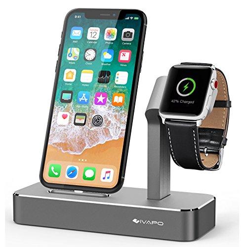 iVAPO 2 in 1 Supporto per Apple Watch Series 3 / Apple Watch Series 1 / Apple Watch Nike + / Apple Watch Series 2 / iPhone X / iPhone 8 Plus / iPhone 8 / iPhone 7/ iPhone 6S Plus / iPhone SE (Grigio)