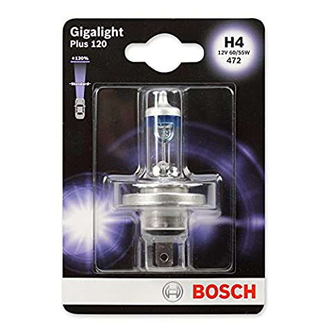 Bosch Lamp GigaLight Plus 120 Xenon Gas H4 12 V 60/55 W P43T, 1