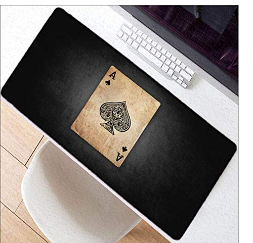 Ace Tastatur (Pik Ace Spielkarten Gaming Mouse Pad Großes Mauspad Computer Mousepad Gummioberfläche Mause Pad Tastatur Schreibtisch Mat40 × 90Cm)