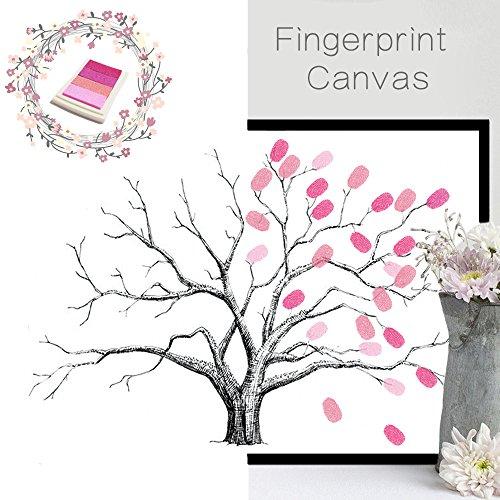 vancore Kreativ DIY Fingerabdrücke Baum Ölgemälde signifikante Hochzeit Geburtstag Party Gäste Signature Buch Leinwand mit Tinte Pads Rosa/Baum