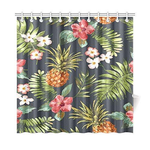 WOCNEMP Home Decor Bad Vorhang Vintage Nahtlose Tropische Blumen Mit Ananas V Polyester Stoff Wasserdicht Duschvorhang Für Badezimmer, 72 X 72 Zoll Duschvorhänge Haken Enthalten -