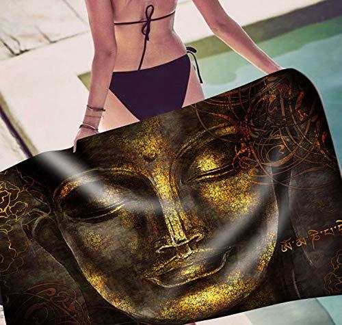 Asinig Toalla de Playa Rectangular de Buda Pintada a Mano Retro Toalla de baño de Secado rápido Pintada a Mano Estera de Yoga Cojín de Piscina Cojín Tapiz Gypsy Beach Shawl Towel AI147,W,70x150cm