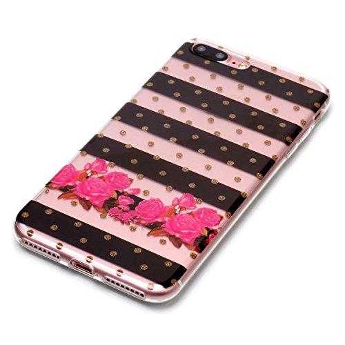 Cover iPhone 7/iPhone 8, GrandEver Morbida Trasparente Ultra Slim Gel Silicone TPU Custodia Protettiva Back Shell Case per iPhone 7/iPhone 8 - Farfalla Fiore 3