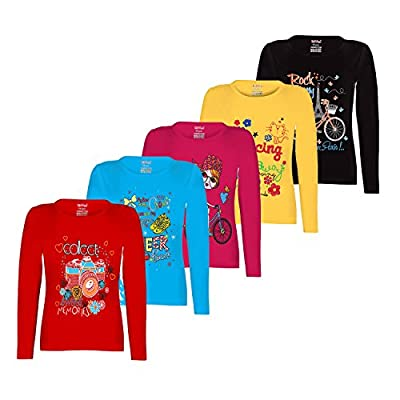 Kiddeo Kids girls full sleeve t shirts(pack of 5)