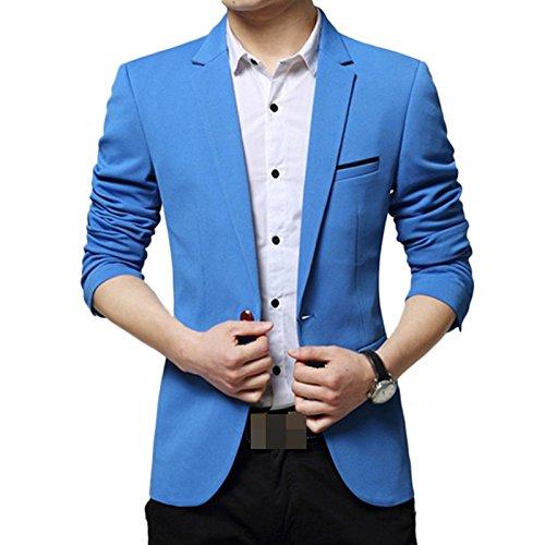 LEOCLOTHO Herren Slim Fit Sakko V Ausschnitt Anzugjacken Eins knopf Blazer mit Vordertasche Blau