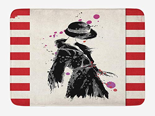 Urban Lab Coat (WYICPLO Fashion Bath Mat, Modern Woman in a Cool Coat with Watercolor Paintbrush Style Casual Urban Design, Plush Bathroom Decor Mat with Non Slip Backing, 23.6 W X 15.7 W Inches, Black Red)