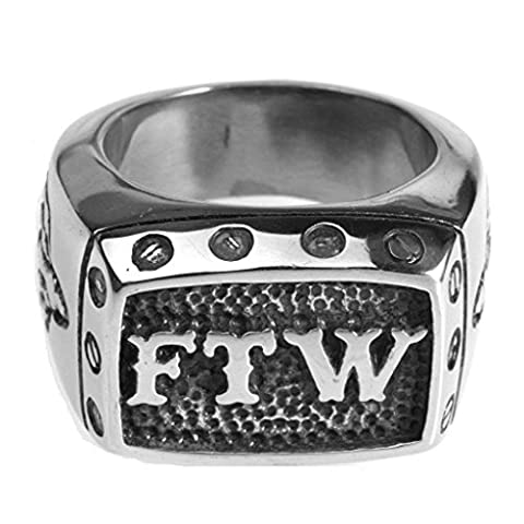 Bishiling Modeschumck Edelstahl Männer Ring Rechteck Alphabet Buchstabe FTW Herrenring Freundschaftsringe Silber Größe 72 (Amethyst Hängende Uhr)