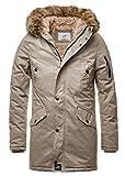Sixth June Herren Parka Winter Jacke Fell Kapuze Lang Zipper schwarz grün M2000 M3310, Größe:L, Farbe:Beige