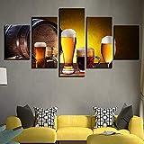 LHKAVE Panel Wall Art Print 5 Piezas Cerveza Tsingtao Cocina y Restaurante Decoración Cuadro Moderno en Lienzo,A,30x40x2+30x60x2+30x80x1