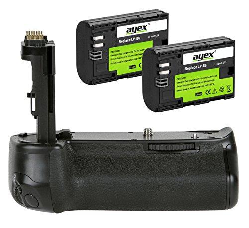 ayex Batteriegriff für Canon EOS 6D Mark II inkl. 2X ayex LP-E6 Akku (Wie BG-E21) 100% Kompatibilität - Akkugriff optimal zum fotografieren im Hochformat -