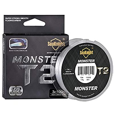 SeaKnight T2 Fluorocarbon Fishing Line 100% Clear Flurocarbon Coated 100m/110yds Monofilament Leader Line