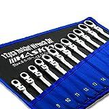 Set chiavi inglese da 12 pezzi I Chiave a cricchetto per chiavi aperte I cassetta attrezzi | Set di chiavi a cricchetto da 8-19 mm
