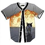 XiYang Hip-Hop 3D Herren Hemd - Urban Baseball Jersey Explosion Flamme Katze Y1724-79-M-XY