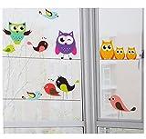 Set: Fensterbilder - bunte lustige Eulen auf Ast