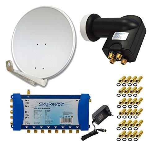 PremiumX DELUXE85 Antenne 85 cm ALU Hellgrau + SkyRevolt Multischalter SV 5/8 Multiswitch Sat Verteiler + SkyRevolt Quattro LNB HDTV + 24x F-Stecker Digital HD SAT Anlage